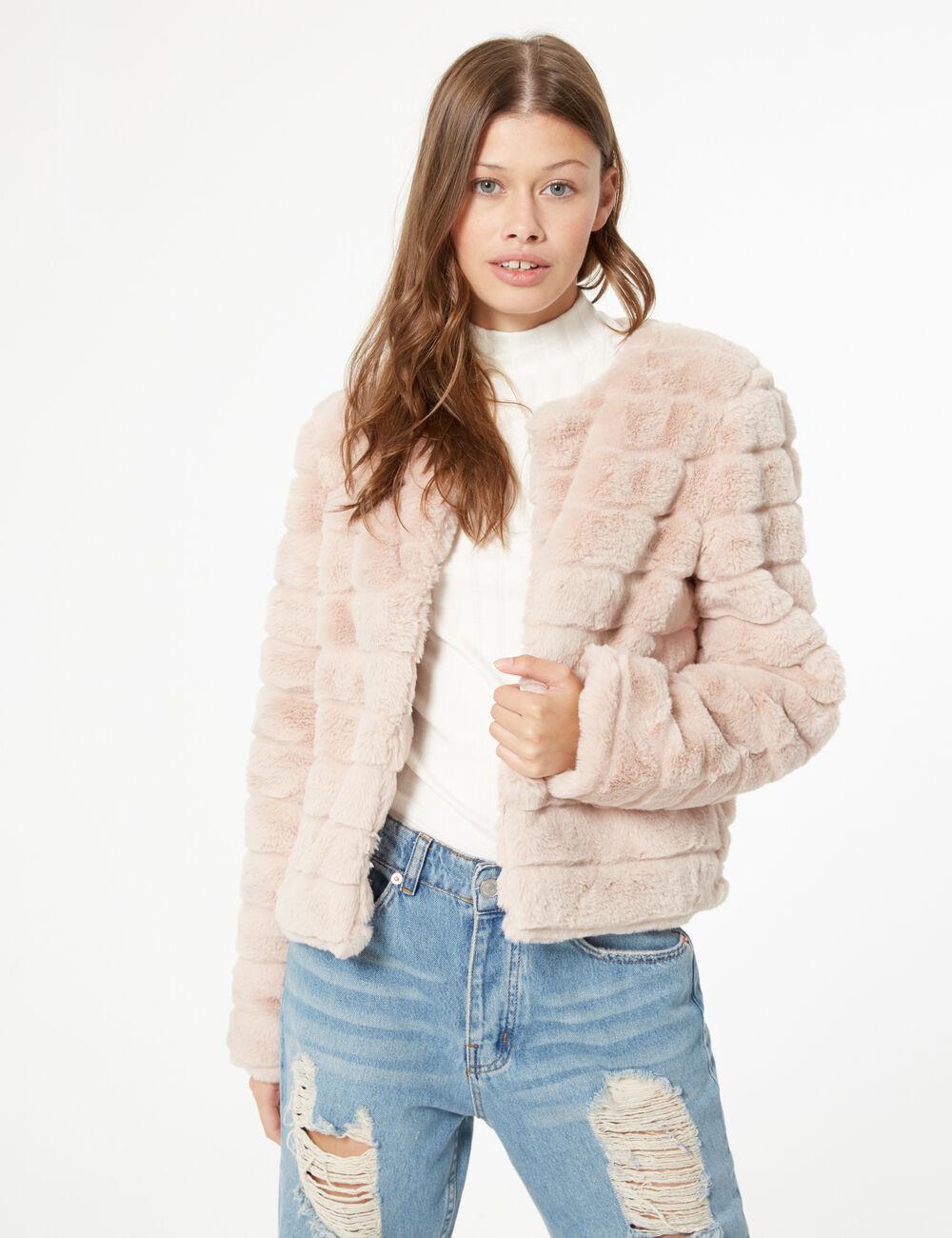 Manteau imitation fourrure femme • Jennyfer