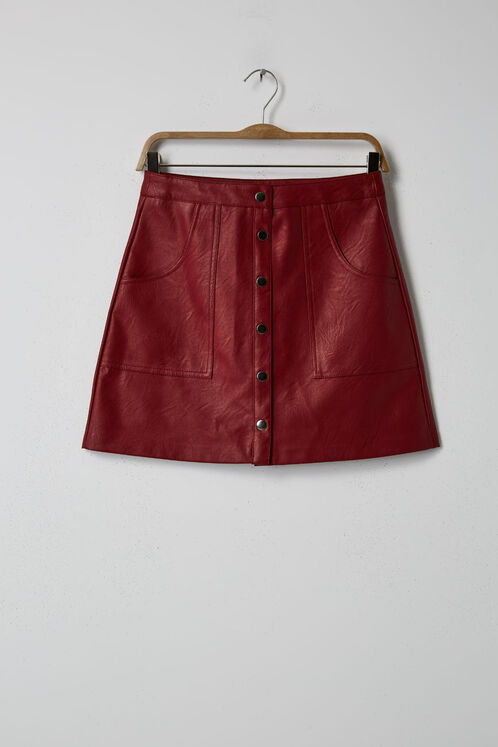 Burgundy faux leather skirt with press-stud detail