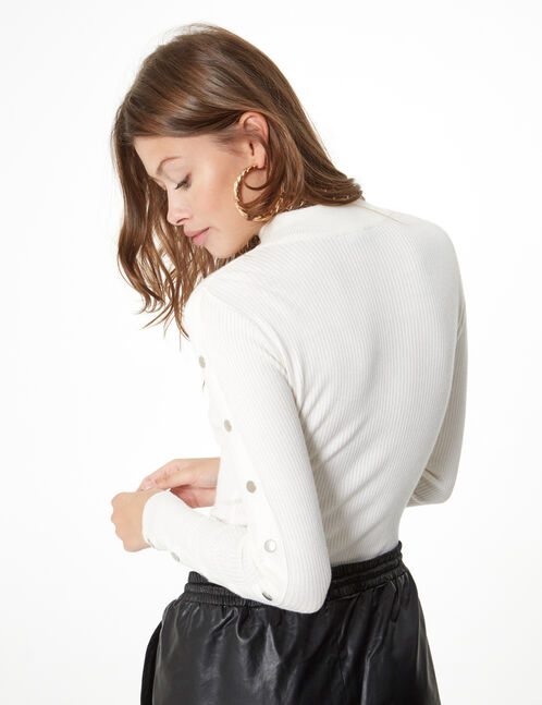 ribbed jumper with button detail