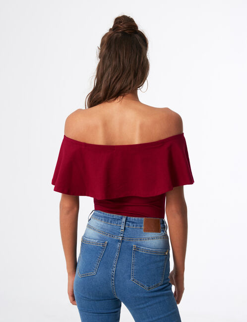 Burgundy bodysuit with frill detail