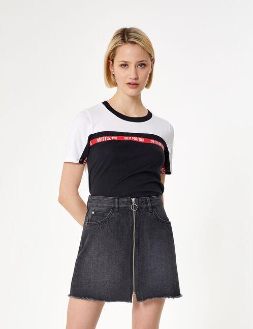 jupe en jean zippée noire