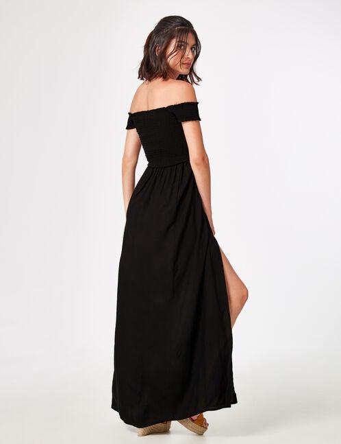 robe longue fendue noire