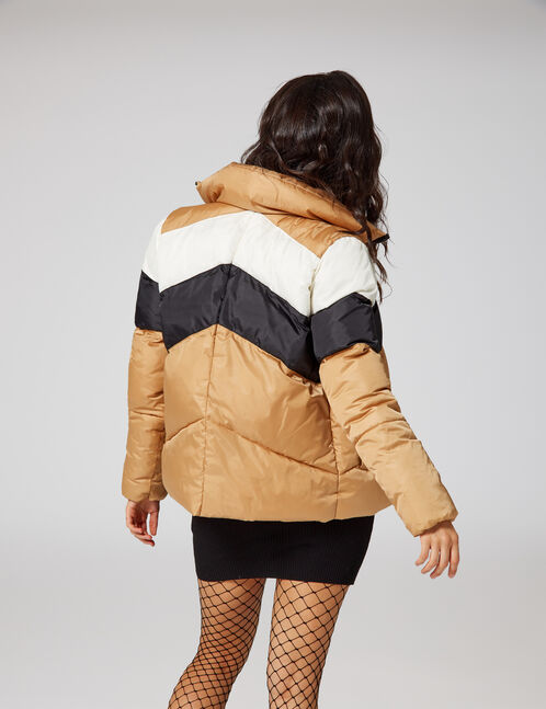 Beige high-necked padded jacket