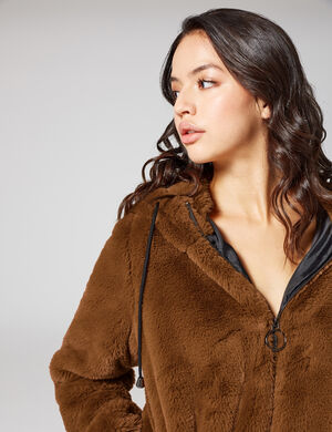 manteau imitation fourrure camel