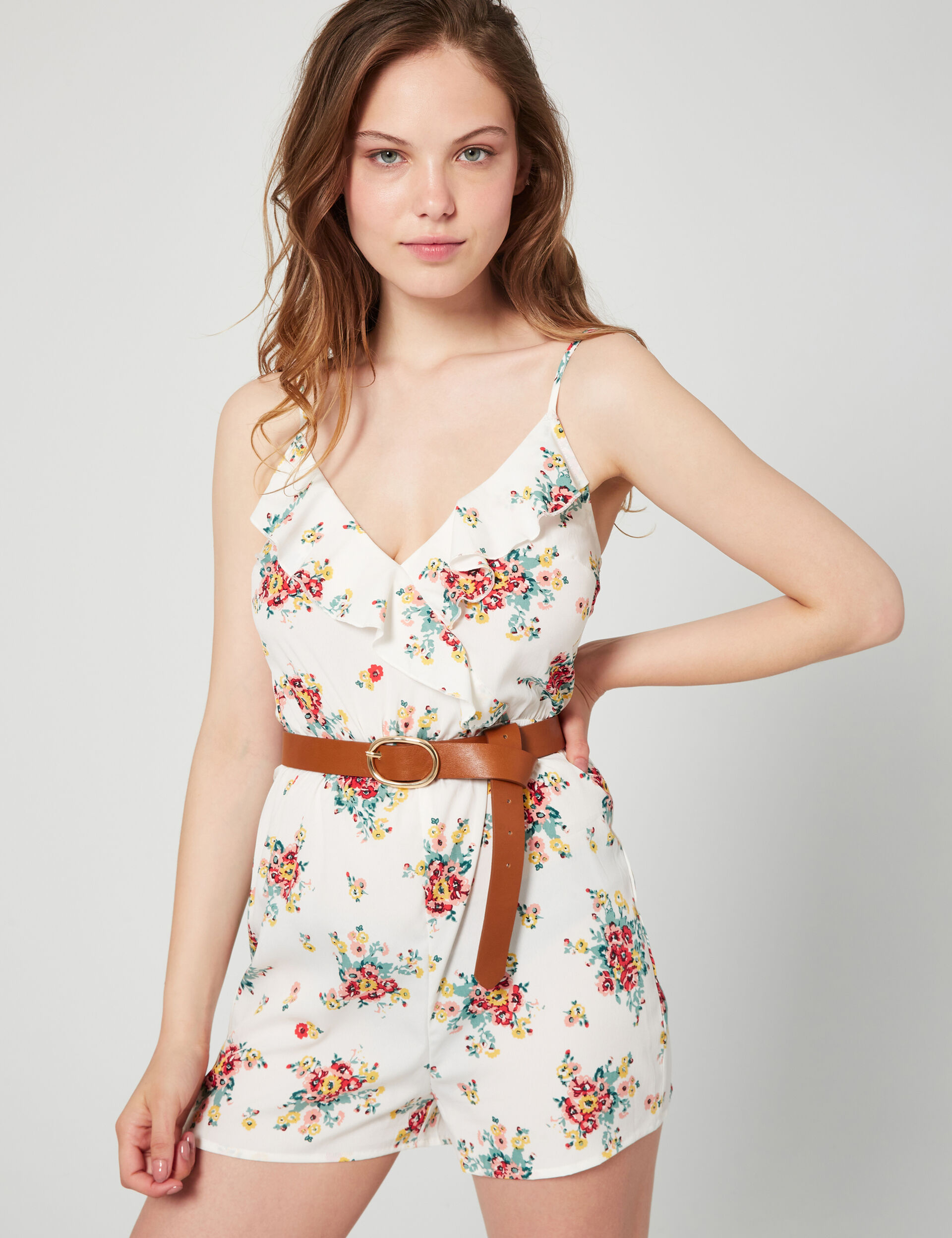 Frilled floral playsuit