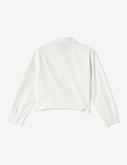 Cropped white army-style jacket