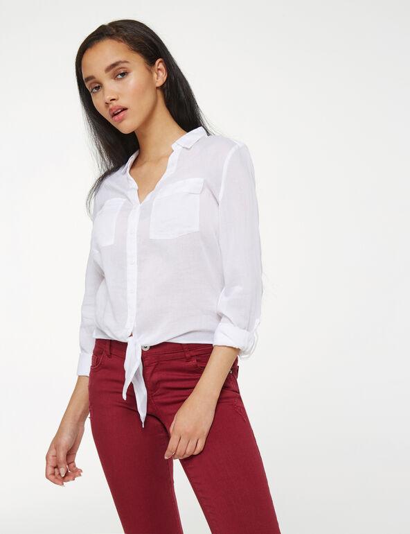 chemise en coton à nouer blanche