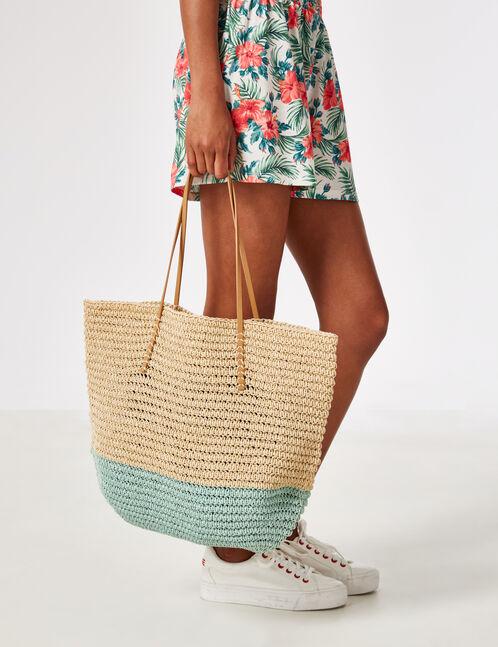 sac de plage en paille écru et vert d'eau
