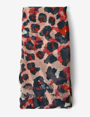 foulard léopard rose, rouge et bleu