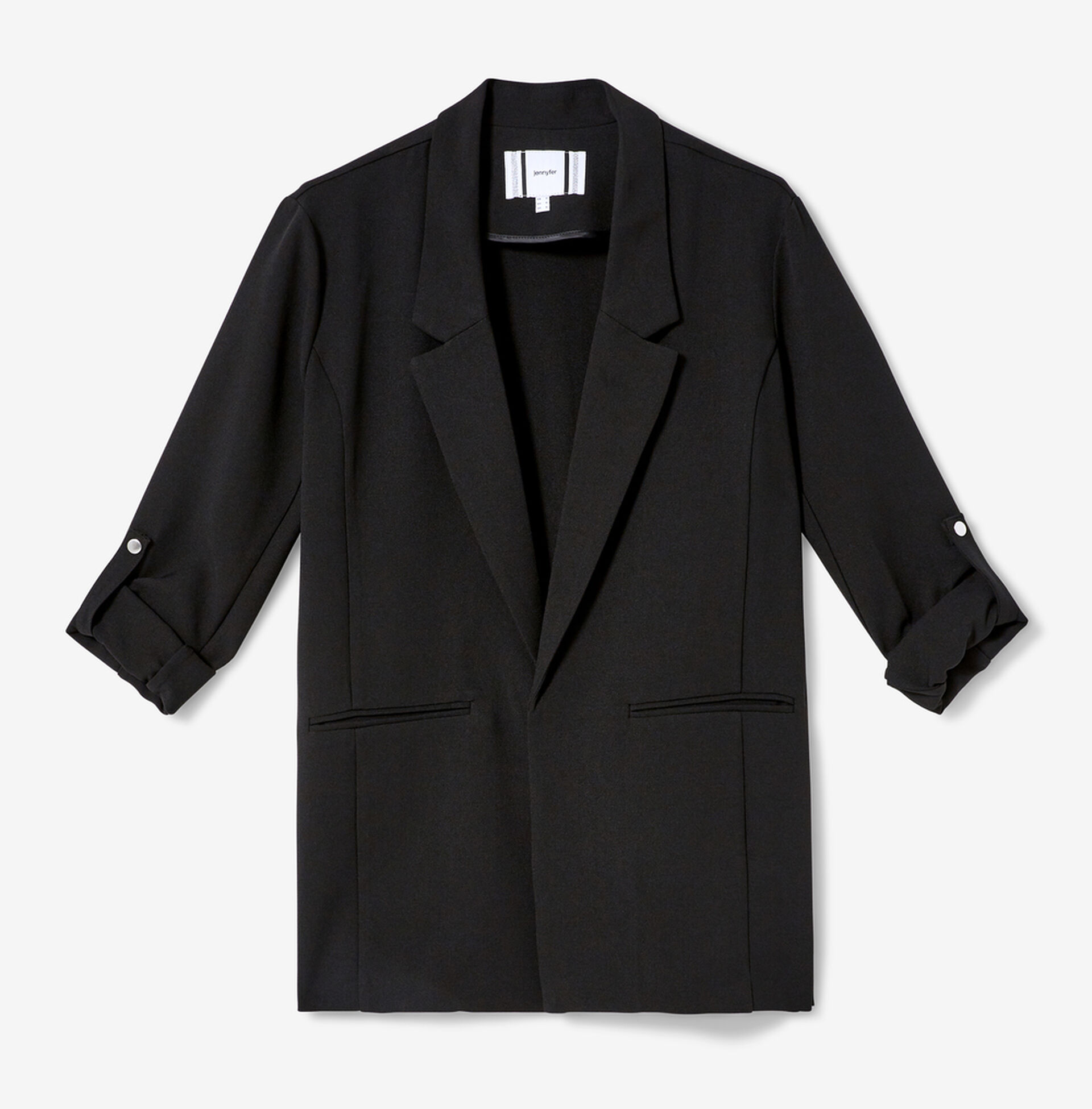 Black blazer with roll-up sleeves