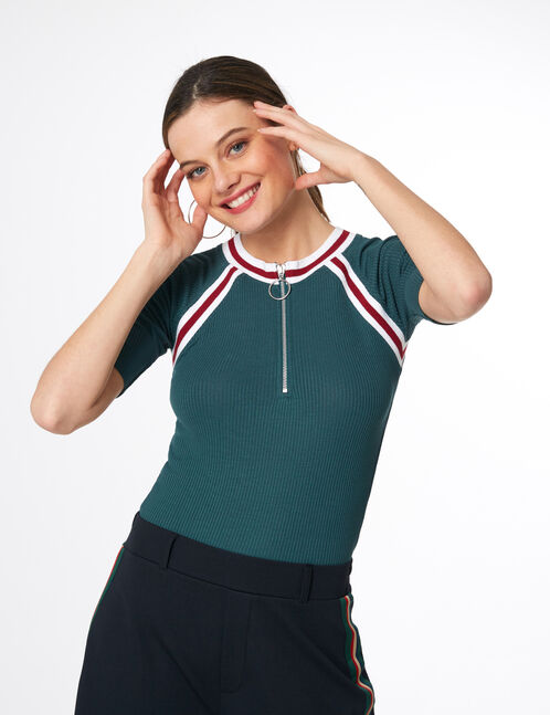body côtelé zippé vert