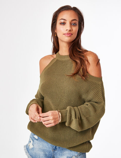 pull ouvertures col kaki