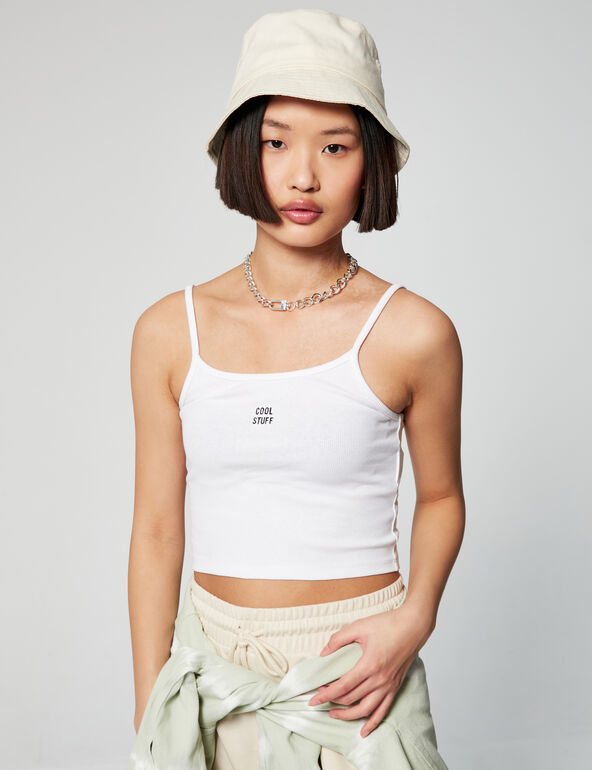 Ribbed vest top with slogan detail
