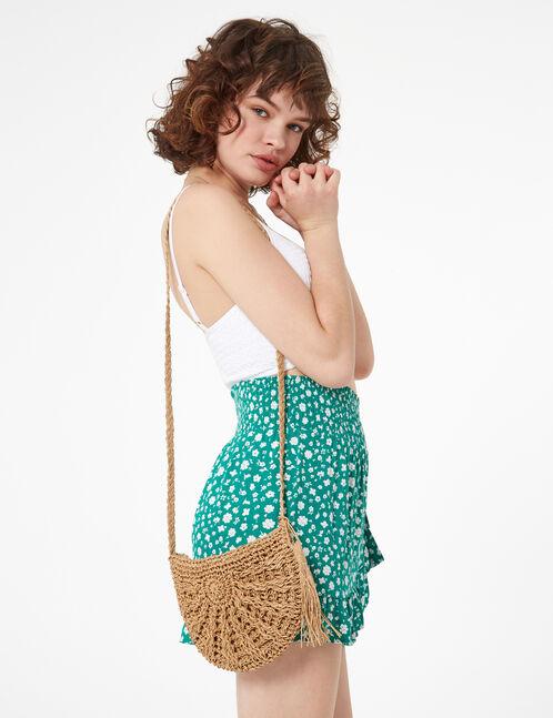 brown straw messenger bag