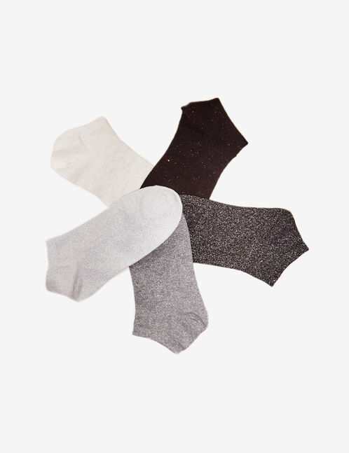 Black, grey and cream socks with lurex detail
