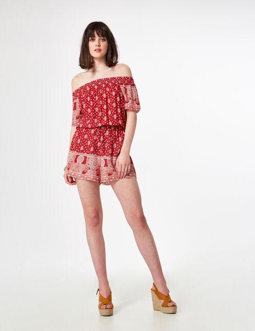 combishort épaules dénudées rouge et écrue