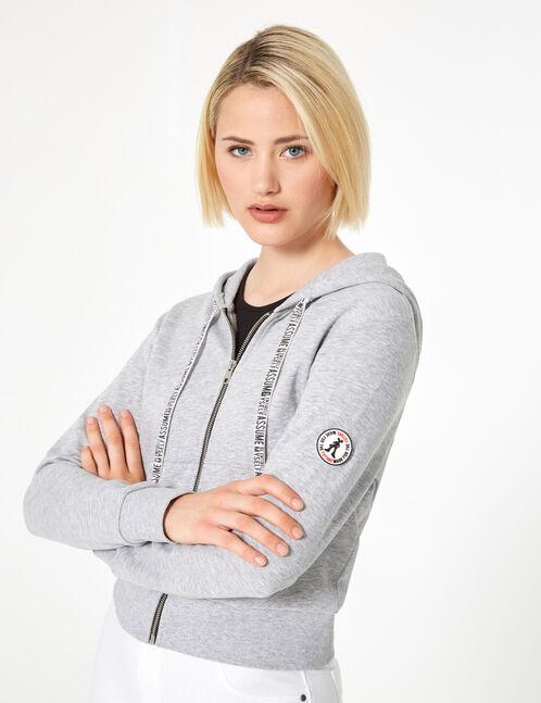 Grey marl zipped hoodie