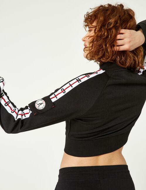Cropped black zip-up sweatshirt