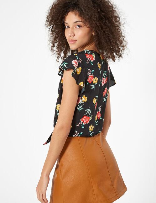 Black tie-fastening floral blouse