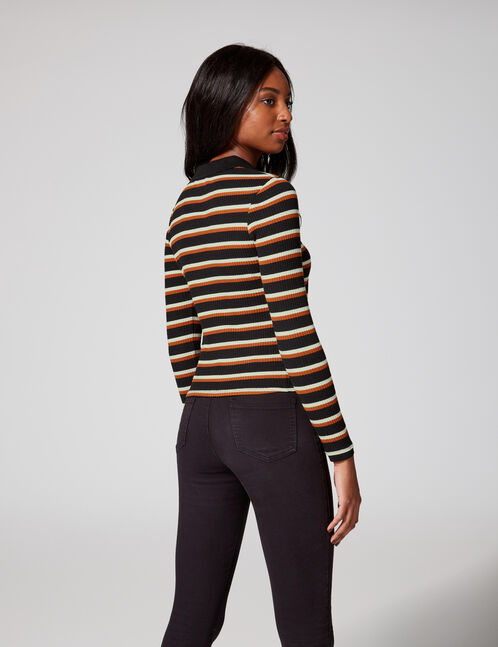 Camel striped polo shirt-style top