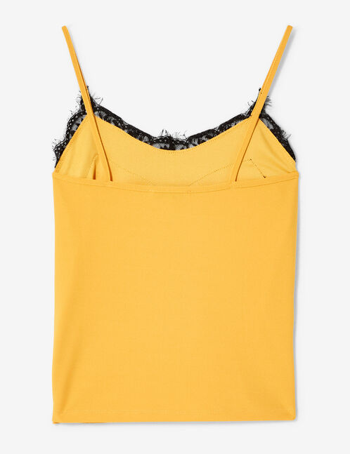 Ochre camisole with lace detail
