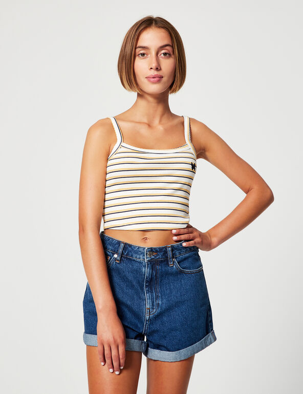 Striped vest top with motif