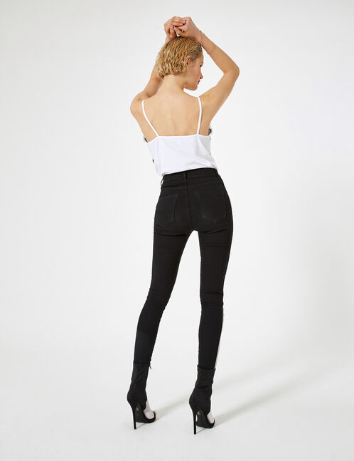 Black, white and yellow jeggings with trim detail