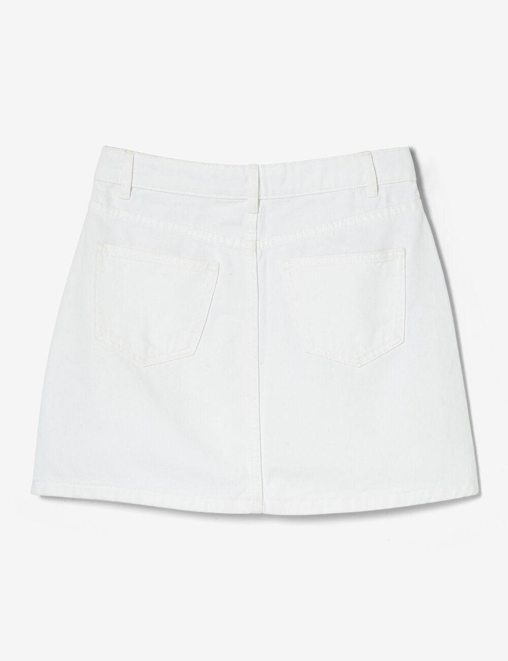 41247ee90da101 Jupe en jean boutonnée blanche femme • Jennyfer