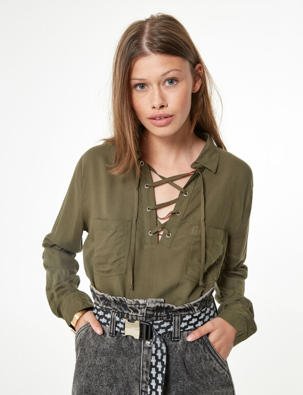 Shirt with lacing