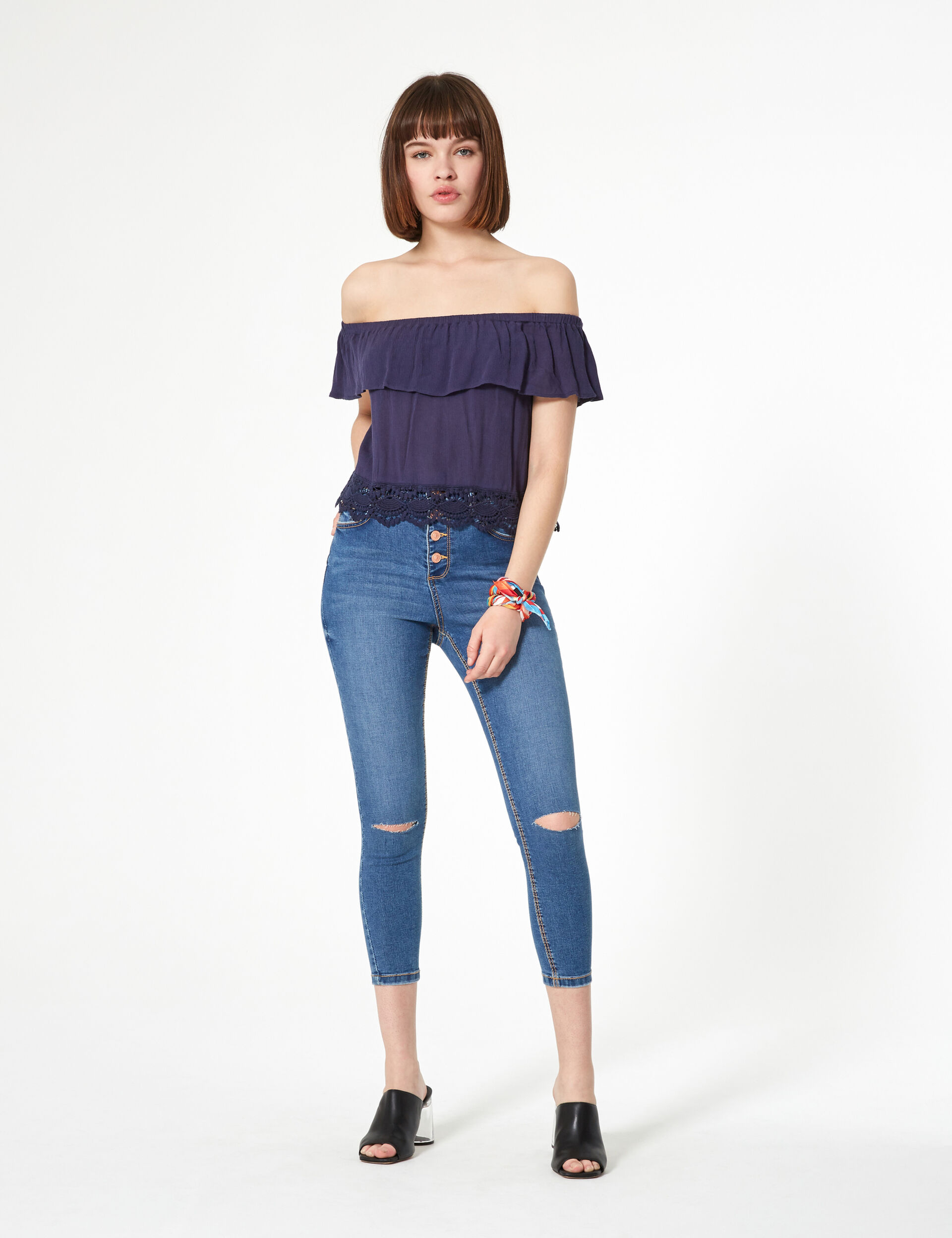 Navy blue blouse with frill detail