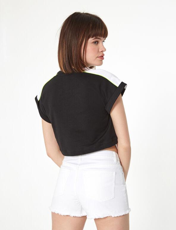 Black, white and neon yellow short-sleeved sweatshirt