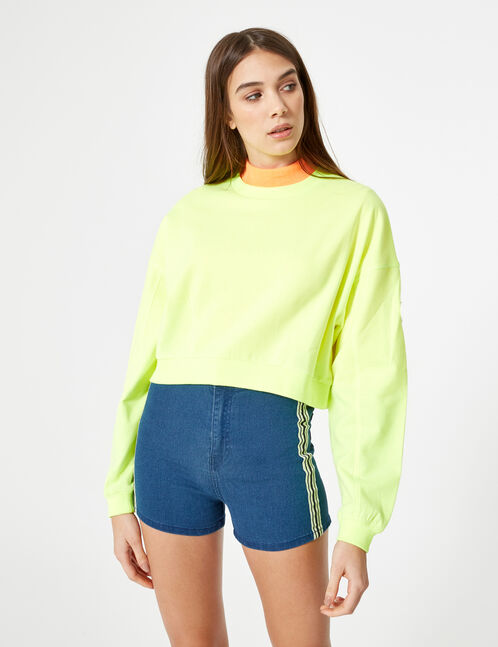 sweat court jaune fluo
