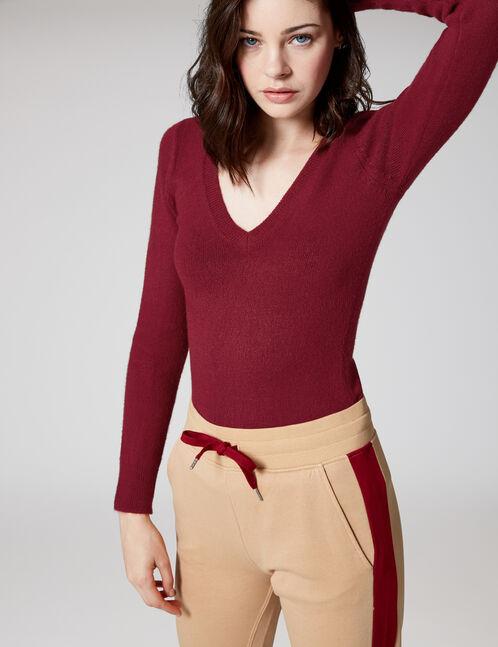 Burgundy cashmere-feel jumper