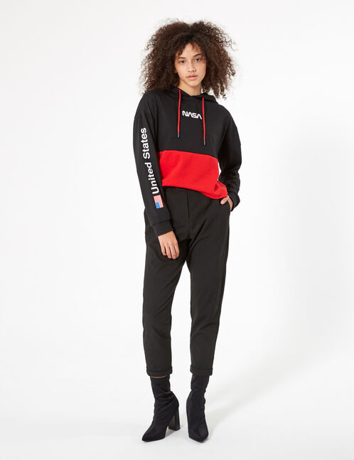 sweat à capuche nasa noir et rouge