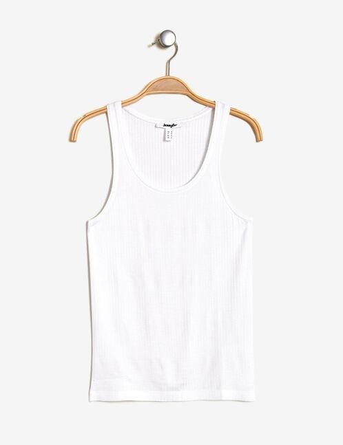Basic white ribbed tank top