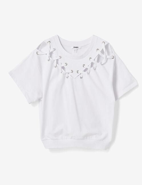 White sweatshirt with lacing detail