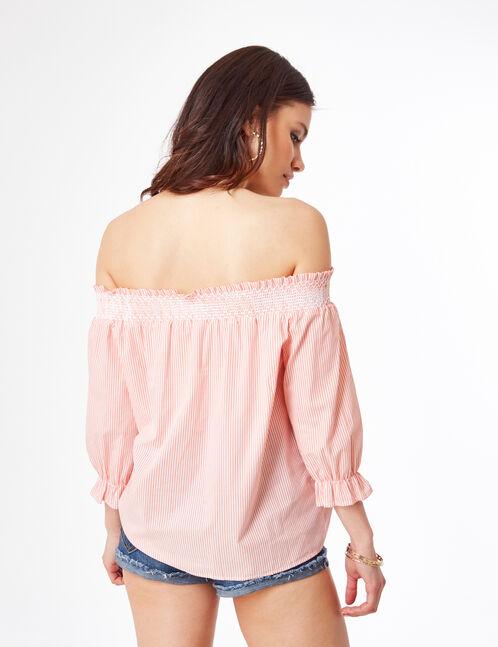 blouse épaules dénudées corail et écrue
