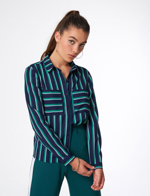 Navy blue, green and white striped shirt