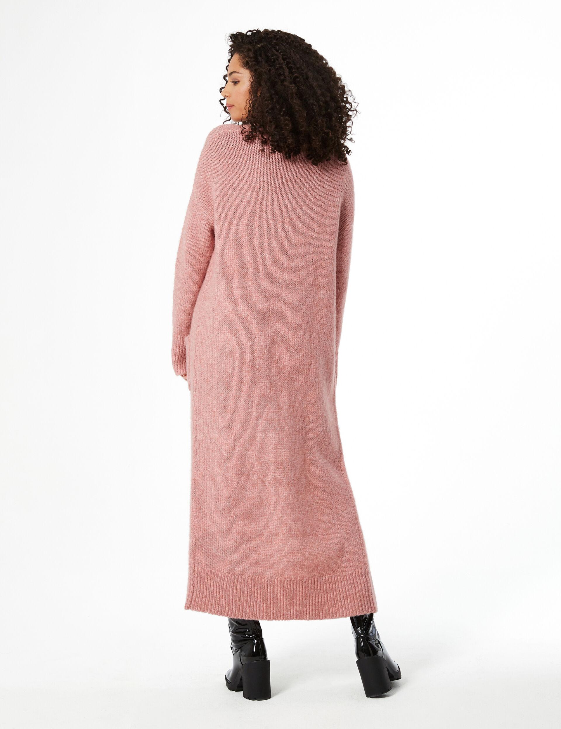Long braided knit cardigan