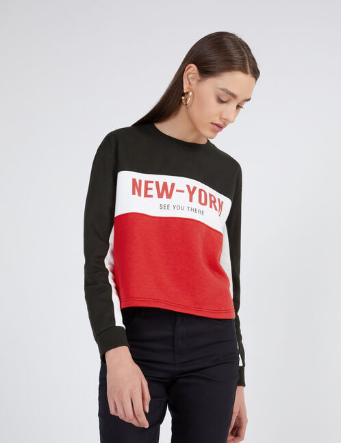 "Black, white and red tricolour ""New York"" sweatshirt"