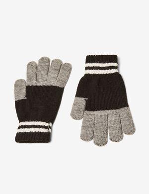 Product Gants, noir, gris et écru, finitions bords côtes. Photos retouchéesMarque Jennyfer Catégorie bonnets + gants