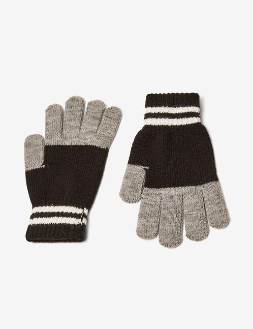 Black, grey and cream tricolour gloves