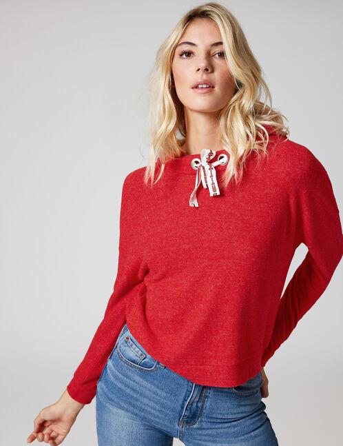 Red fine-knit hoodie