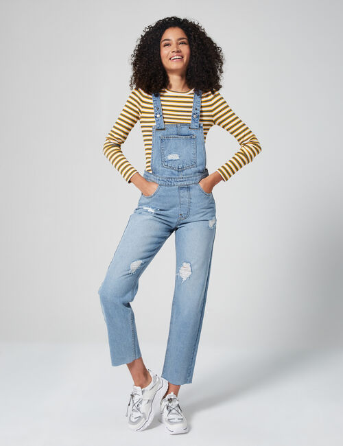 Distressed mom dungarees