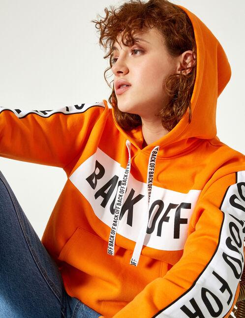 """Orange """"back off"""" hoodie"""