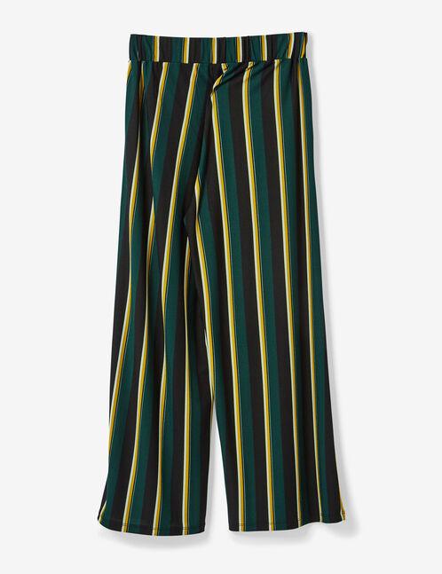 pantalon fluide large ray vert ocre blanc et noir femme jennyfer. Black Bedroom Furniture Sets. Home Design Ideas