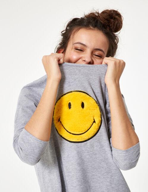 set pyjama smiley gris et noir