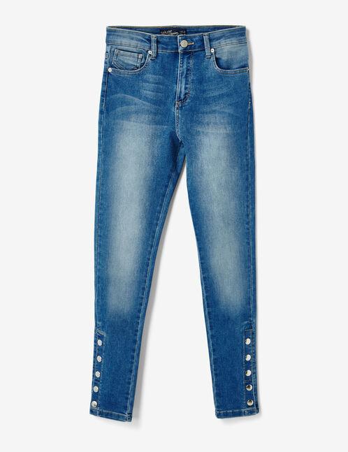 Medium blue jeans with press-stud detail