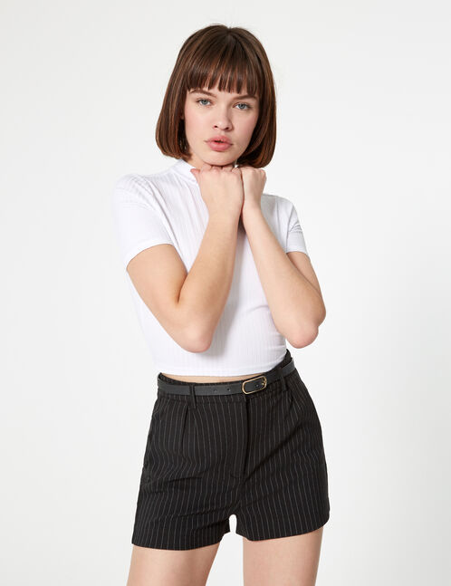 Black and white striped belted shorts