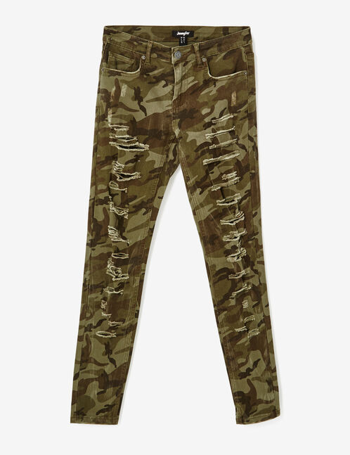Khaki camouflage distressed skinny trousers